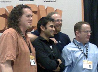 L-R: Chris Wilson, Arun Ranganathan, Charles McCathieNevile, and Brendan Eich